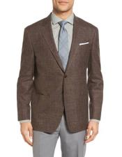 Mens Sportcoat Two Buttons Single Breasted Wool Blend & Linen Dark Brown Slim Fit Blazer