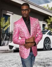 Mens Fuschia Paisley Colorful Stage Entertainer Blazer