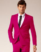 Mens Fuschia 2 Button Style Wool and Cotton Suit