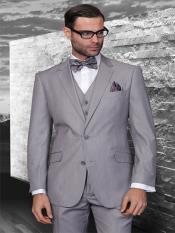 Classic 3pc 2 Button light gray Stripe ~ Pinstripe Suit Super 150s