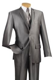 2 Button Slim Fit Shiny Flashy Satin Silky Metallic Suits Gray