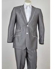 Mens Grey Tuxedo - Gray Tuxedo Suit With White Trim Lapel Slim