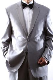 2 Button Superior 150s Light Grey ~ Gray Tuxedo W Flat Front