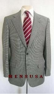 Checker houndstooth fabric Checker Pattern Business ~ Wedding 2 piece Side Vented Suit Gray ~ Grey &