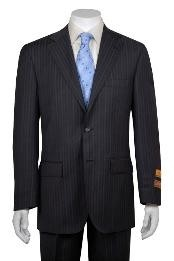 Multi Stripe ~ Pinstripe 2 Button Vented without pleat flat front