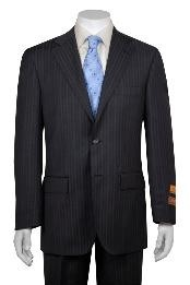 Gray and Shadow Stripe ~ Pinstripe 2 Button Vented without pleat flat