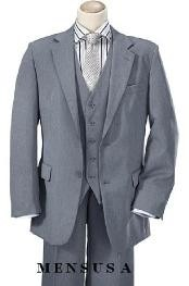 Quality Mid Gray 2 Button Vested 100% Wool feel poly~rayon Mens