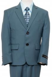 2 Button Front Closure Boys Suit Nile Green