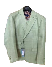 Mens Green Peak Lapel  Linen