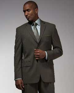 2 buttons Dark Olive Green Pinstripe Pattern of Very Thin Stripe ~ Pinstripe affordable Cheap Business Suits
