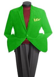 Mens 2 Button Classic Cotton/Rayon Blazer lime mint Green