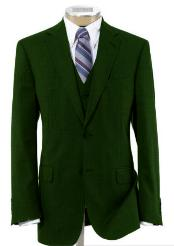 2 Button Wool Vested Dark Green Suit with Pleated Trousers