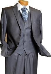 3 Piece Vested 2 Button Grey on Grey Pinstripe Slim Fit Suit