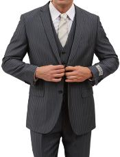 2 Button Front Closure Grey Pinstripe Slim Fit Suit
