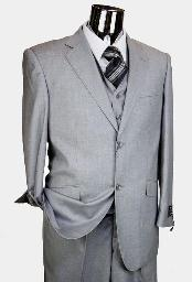 Mens Light Grey 3 Piece 2 Button single pleated pants three piece