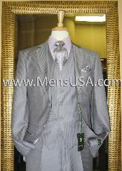 Button 3 Piece Grey Pinstripe Fitted Suit