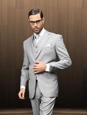 2 Button Vested Grey patterned Suit Comes With Free Shirt &