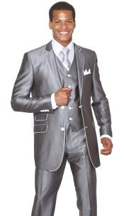 2 Button 3 Piece Single Breasted Church Suit Grey White Trim