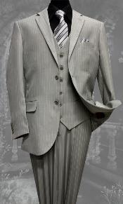 2 Button 3 Piece Vested Light Grey ~ Grey Pinstripe Suit