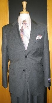 Button Grey Pinstripe Flat Front Wool Suit