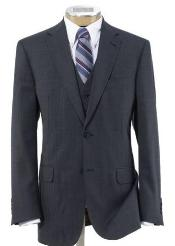 2 Button Wool Vested Suit with Pleated Trousers Grey - Three