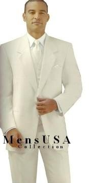 White/Cream 2 button Style jacket  non-vented Fashion Tuxedo For Men