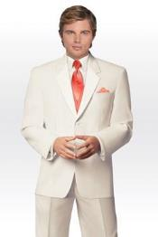 Mens 2 Button Ivory ~ Cream Tuxedo Wedding Suit