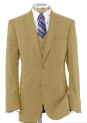 2 Button Wool Vested Khaki~British Khaki~Bronze ~ Camel Suit with Pleated