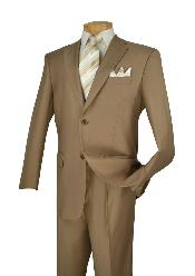Poly-rayon Executive Pure Solid Khaki Suit Notch Collar Pleated Pants