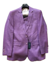 Two Buttons 100% Linen Modern Fit Purple Linen Suit