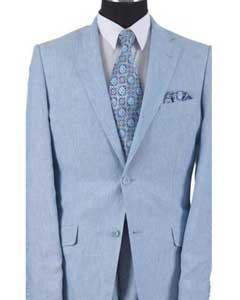 Button With Elbow Patch sleeve Light Blue Mens Linen Summer Suit or Blazer or Sportcoat