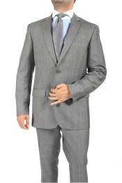 2 Button Slim Fit Light Grey Subtle Glen Plaid Mens Suit