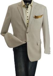 2-Button Single-Breasted Blazer Natural Color