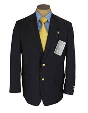 Ralph Lauren Mens Two Buttons Single Breasted Navy Blue Wool Blazer Sportcoat