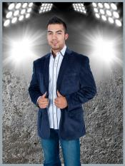 Mens Stylish 2 Button Sport Jacket Navy Blue Discounted Affordable Velvet