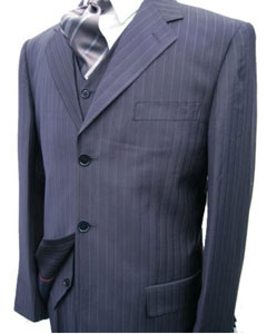 Navy Blue Stripe ~ Pinstripe 3 ~ Three Piece Suit Jacket Side Vents Vest Pleated Pant Available