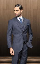 2 Button Vested 3 Piece Navy Blue Windowpane Plaid Suit