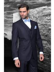Wool Classic 3pc 2 Button Dark Navy Blue Suit For Men Stripe