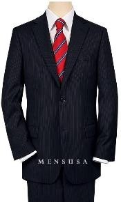 Construction 2 Button Dark Navy Blue Suit For Men MiniStripe Ultimate