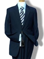 2 Button Dark Navy Blue Suit For Men Side Vents Modern