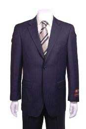 Stripe ~ Pinstripe Modern Fit 2 Button Vented without pleat flat front