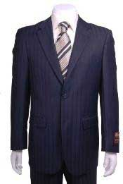 Navy Blue Suit For Men Shadow Stripe ~ Pinstripe Modern Fit 2