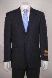 Mens flat front Super 150s Wool Poly~Rayon Navy Stripe 2 Button