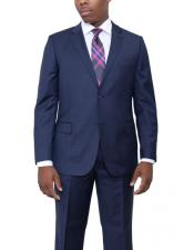 2 Buttons Dark Navy Blue Suit For Men Wool Flat Front