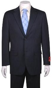Suit Dark Navy Blue Suit For Men Stripe ~ Pinstripe 2 Button Vented without pleat flat front