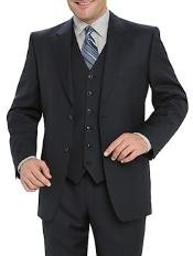 Quality Dark Navy Blue 2 Button Vested 100% Wool Mens Modern