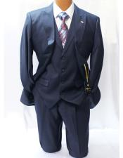 Mens Navy Blue Two Buttons Style Classic Fit Vested Suits with
