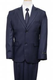 Button Front Closure Boys Suit Navy