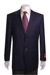 Quality 2 Buttons Portly Blazer / Sport coat Navy