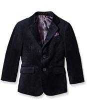 Two Buttons Single Breasted Notch Lapel Soft Velvet Navy Blazer